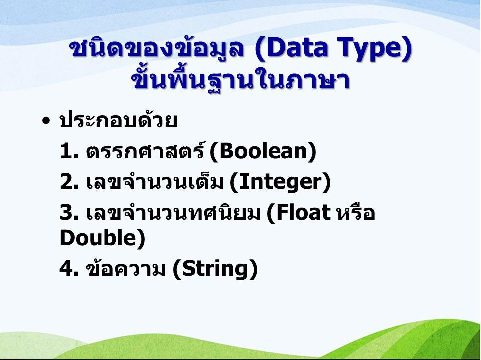 ชนิดของข้อมูล (Data Type) ขั้นพื้นฐานในภาษา