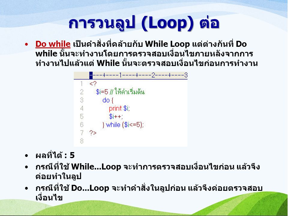 การวนลูป (Loop) ต่อ