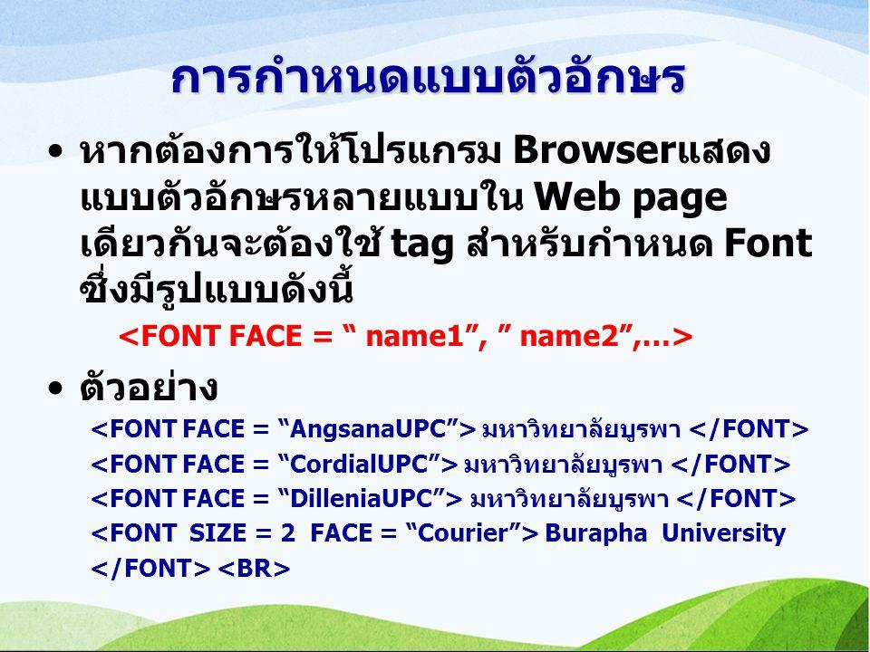 การกำหนดแบบตัวอักษร หากต้องการให้โปรแกรม Browserแสดงแบบตัวอักษรหลายแบบใน Web page เดียวกันจะต้องใช้ tag สำหรับกำหนด Font ซึ่งมีรูปแบบดังนี้