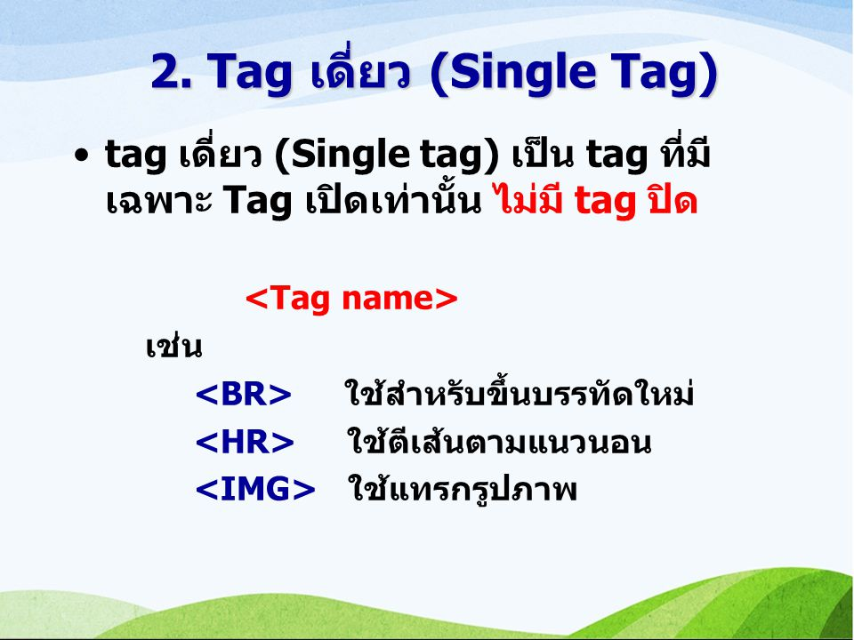 2. Tag เดี่ยว (Single Tag)