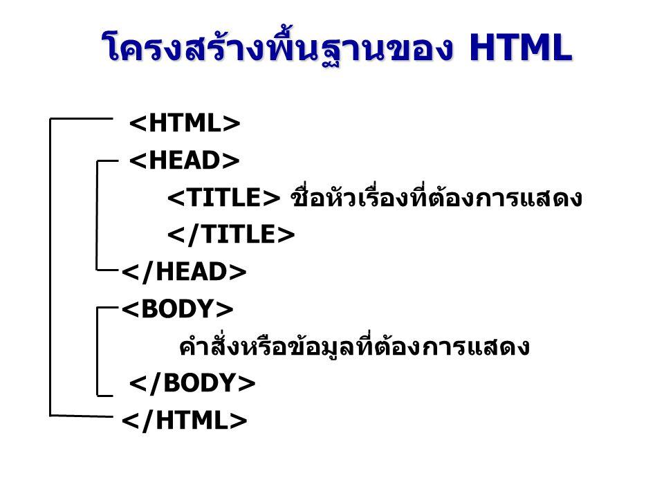 โครงสร้างพื้นฐานของ HTML