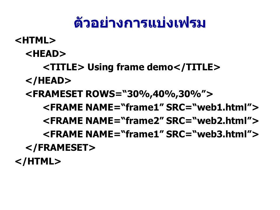 ตัวอย่างการแบ่งเฟรม <HTML> <HEAD>