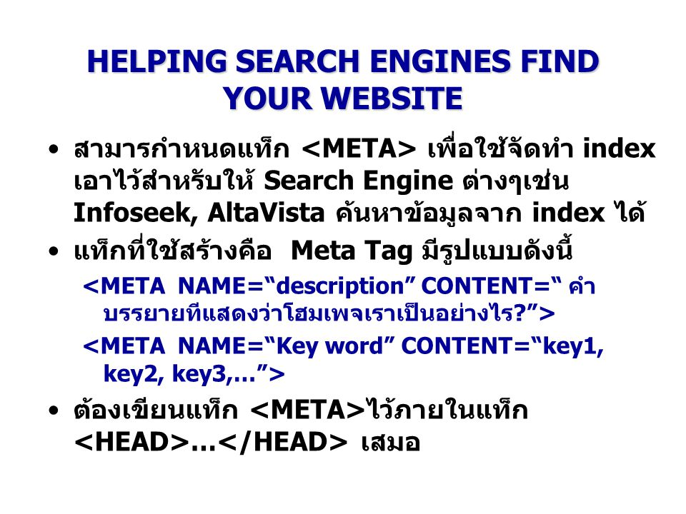 HELPING SEARCH ENGINES FIND YOUR WEBSITE