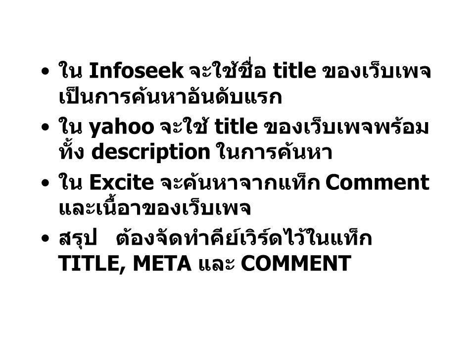 ใน Infoseek จะใช้ชื่อ title ของเว็บเพจเป็นการค้นหาอันดับแรก