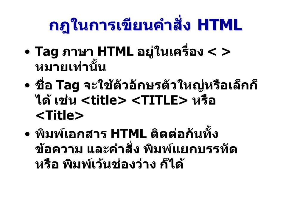 กฎในการเขียนคำสั่ง HTML