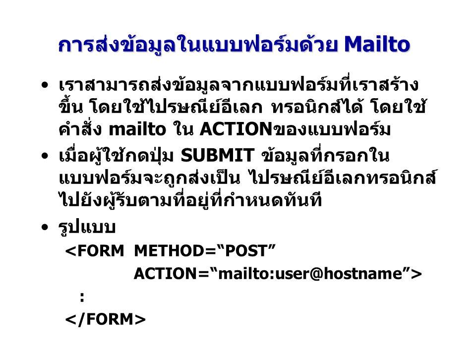 การส่งข้อมูลในแบบฟอร์มด้วย Mailto