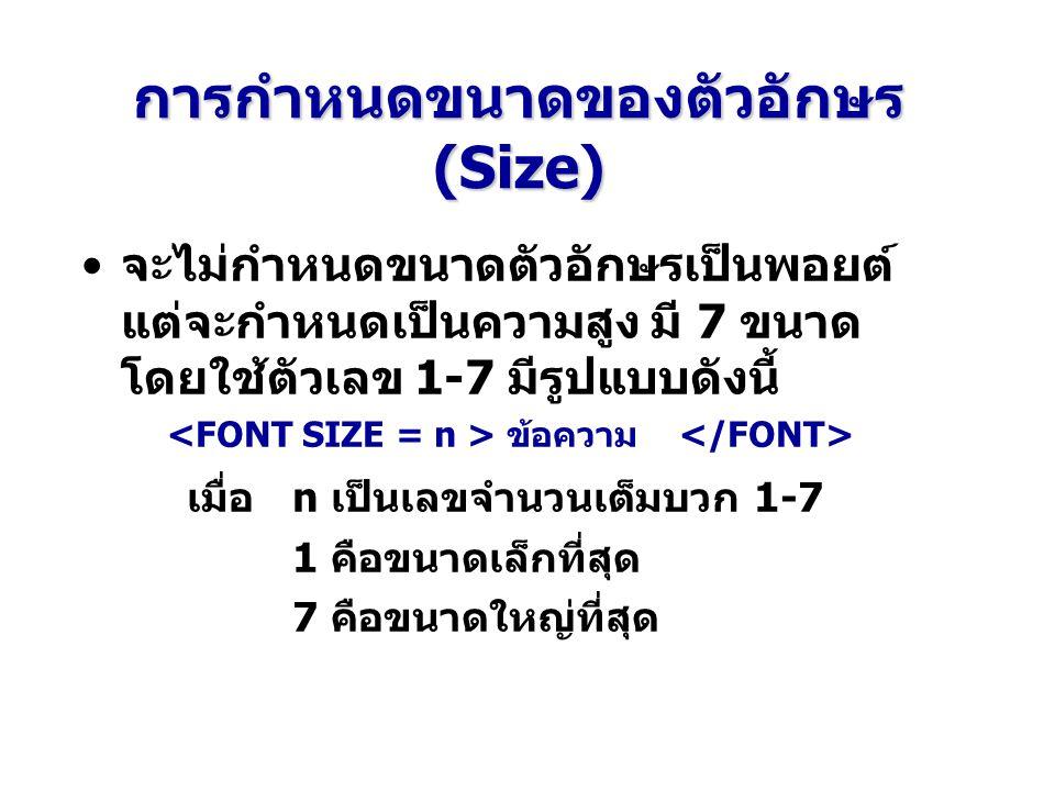 การกำหนดขนาดของตัวอักษร (Size)
