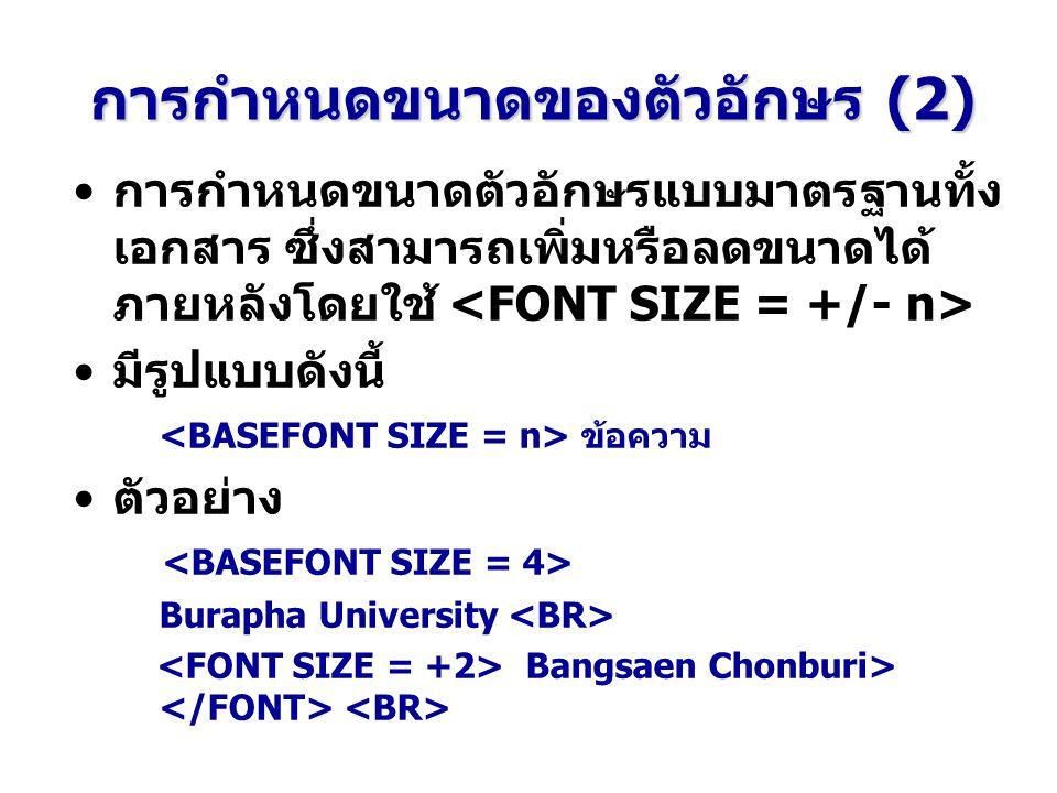 การกำหนดขนาดของตัวอักษร (2)