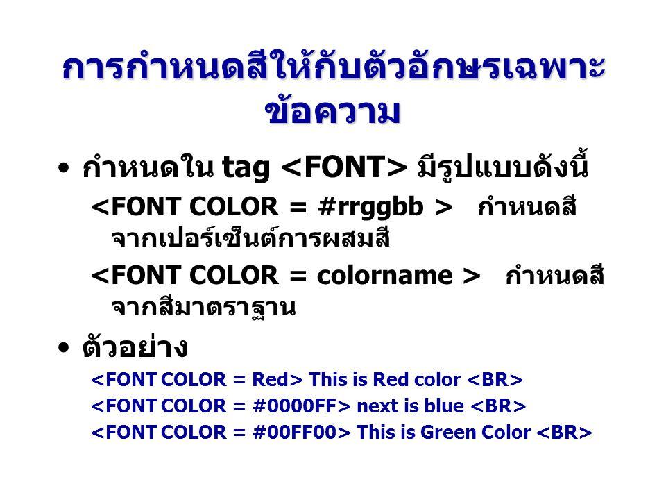 การกำหนดสีให้กับตัวอักษรเฉพาะข้อความ