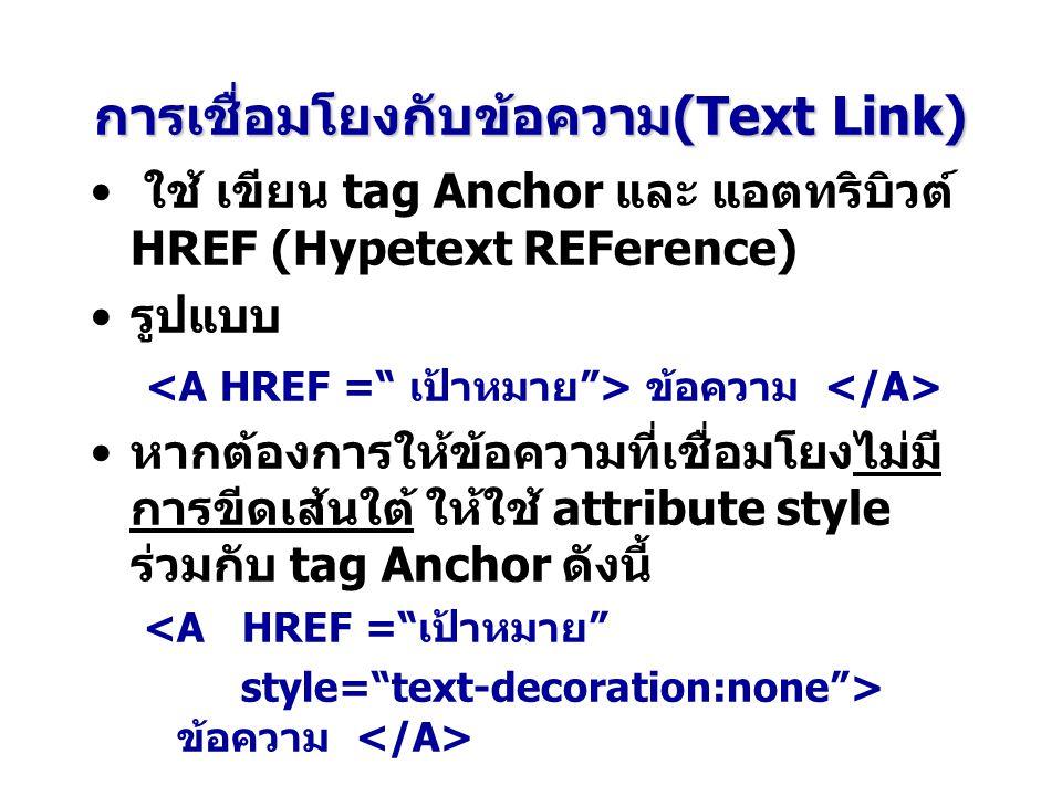การเชื่อมโยงกับข้อความ(Text Link)