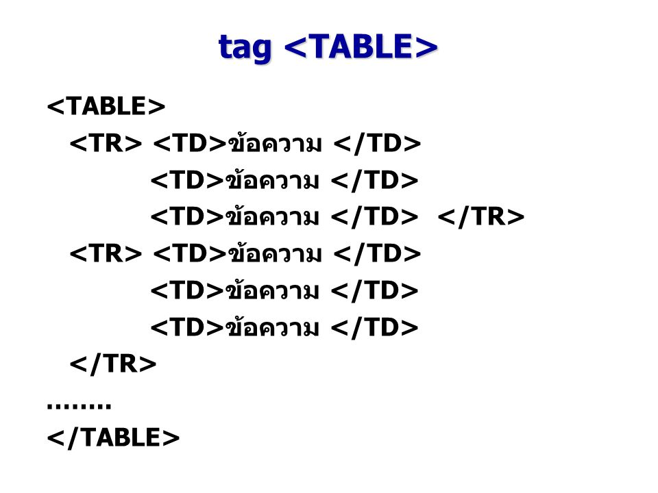 tag <TABLE> <TABLE>