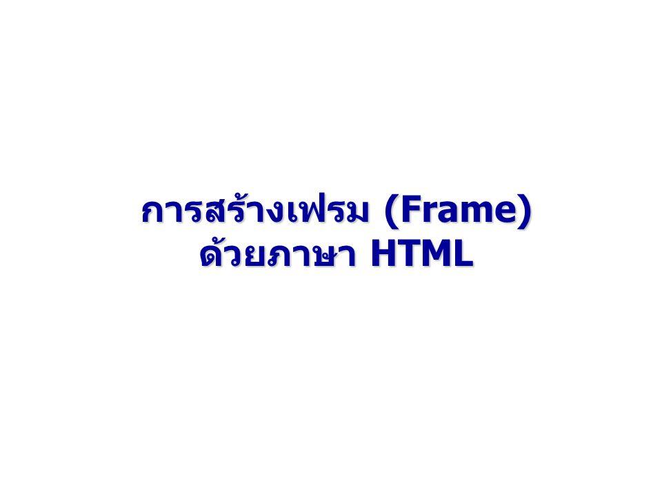 การสร้างเฟรม (Frame) ด้วยภาษา HTML
