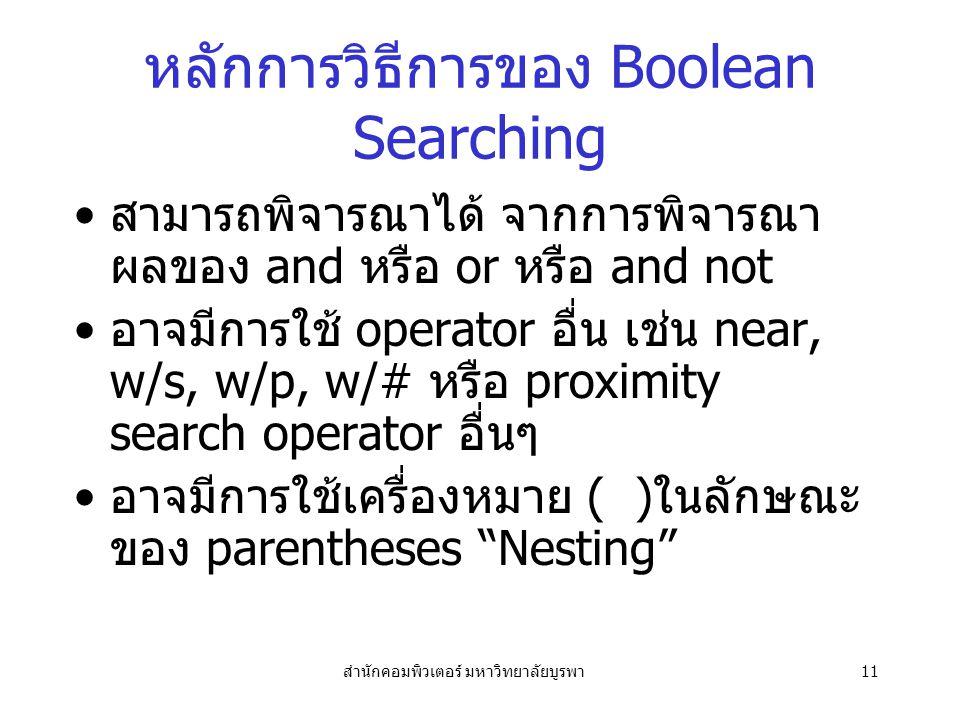 หลักการวิธีการของ Boolean Searching