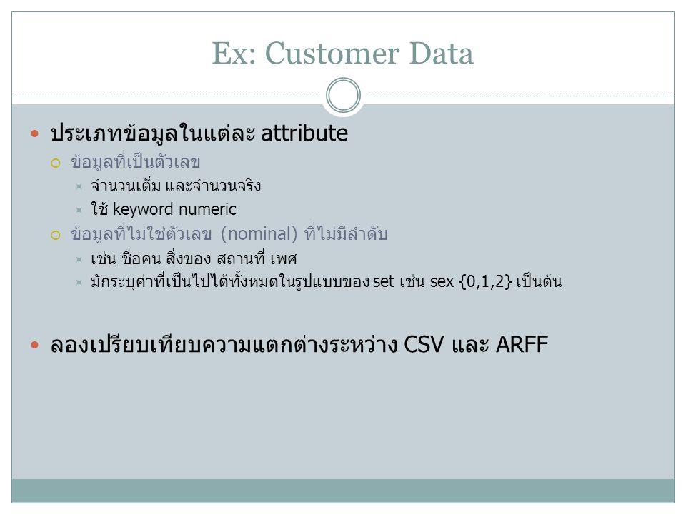 Ex: Customer Data ประเภทข้อมูลในแต่ละ attribute
