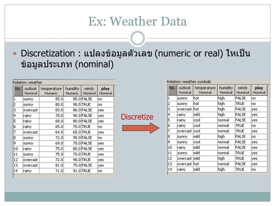 Ex: Weather Data Discretization : แปลงข้อมูลตัวเลข (numeric or real) ใหเป็นข้อมูลประเภท (nominal) Discretize.