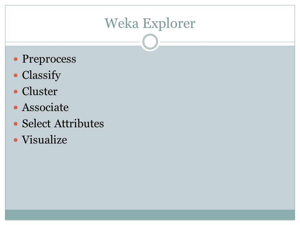 Weka Explorer Preprocess Classify Cluster Associate Select Attributes
