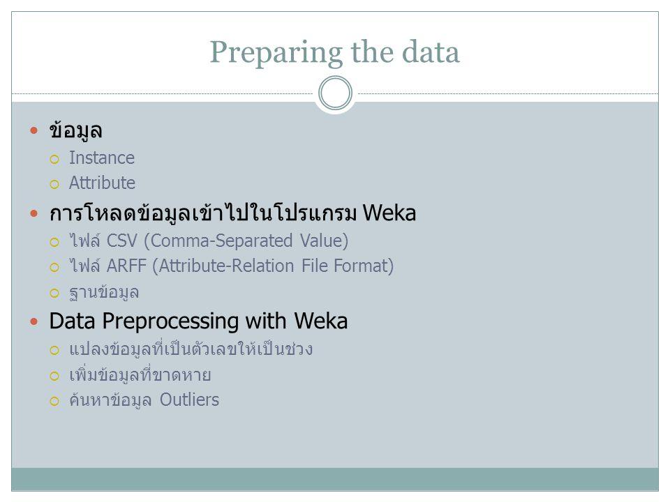 Preparing the data ข้อมูล การโหลดข้อมูลเข้าไปในโปรแกรม Weka