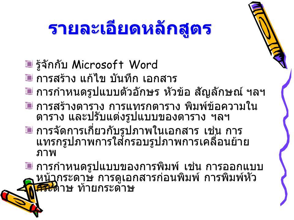รายละเอียดหลักสูตร รู้จักกับ Microsoft Word
