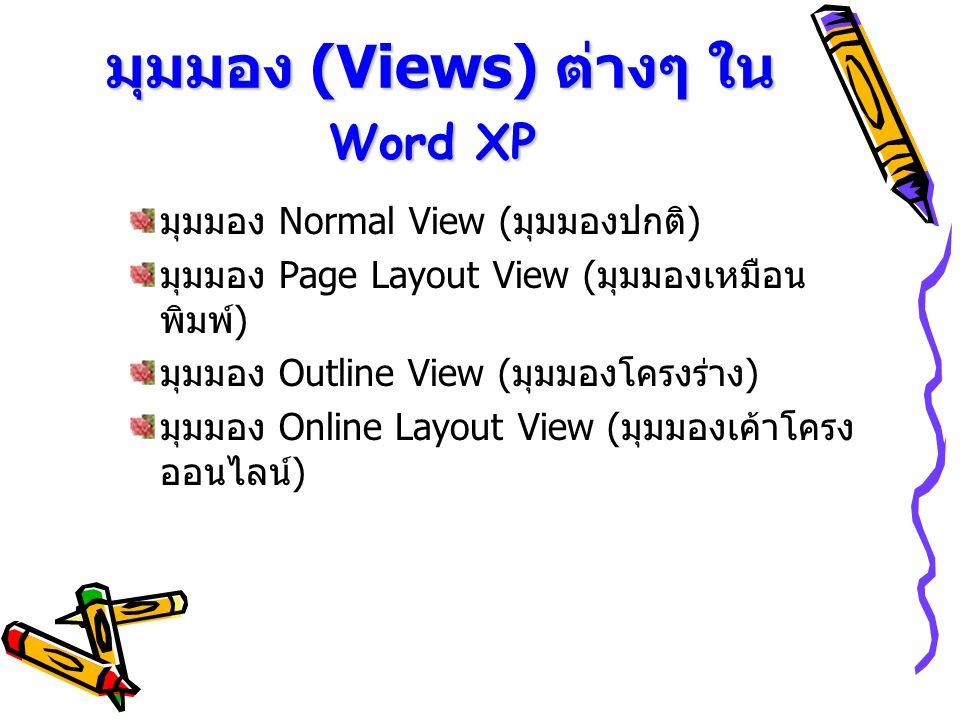 มุมมอง (Views) ต่างๆ ใน Word XP