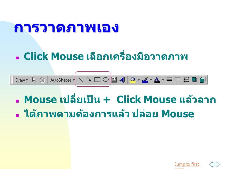 การวาดภาพเอง Click Mouse เลือกเครื่องมือวาดภาพ