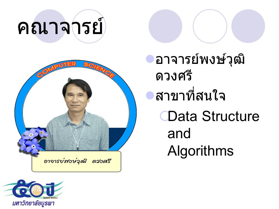 คณาจารย์ Data Structure and Algorithms อาจารย์พงษ์วุฒิ ดวงศรี