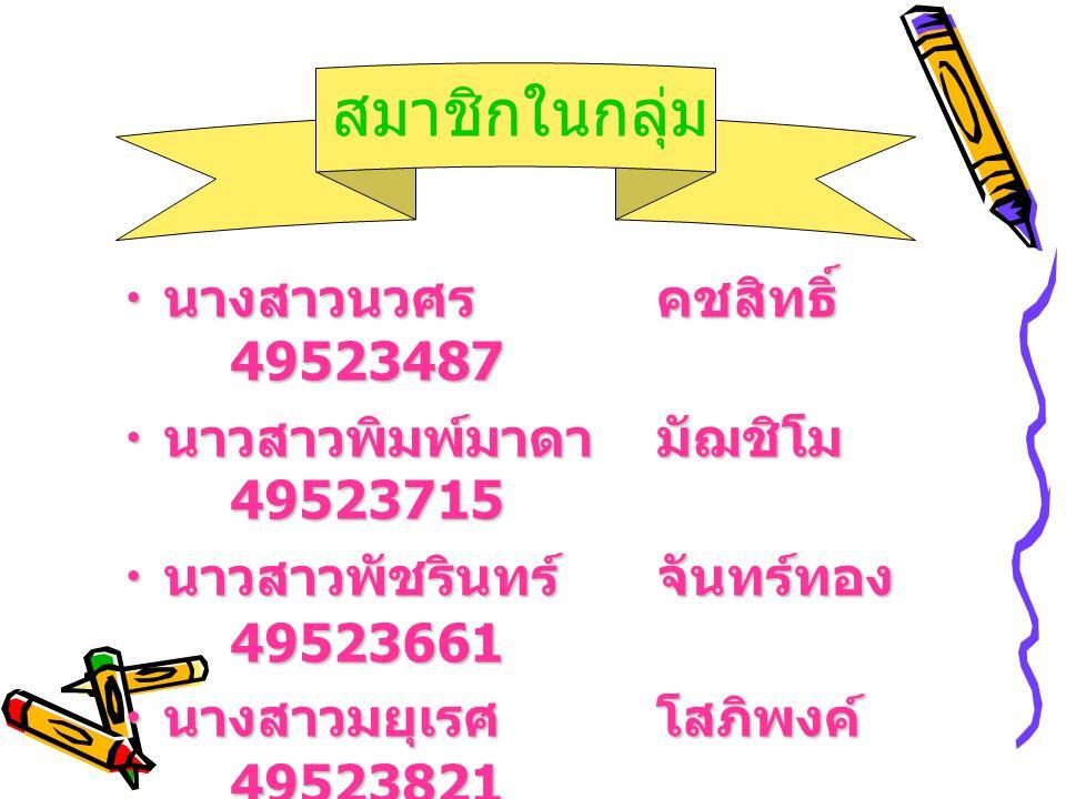 สมาชิกในกลุ่ม นางสาวนวศร คชสิทธิ์ 49523487
