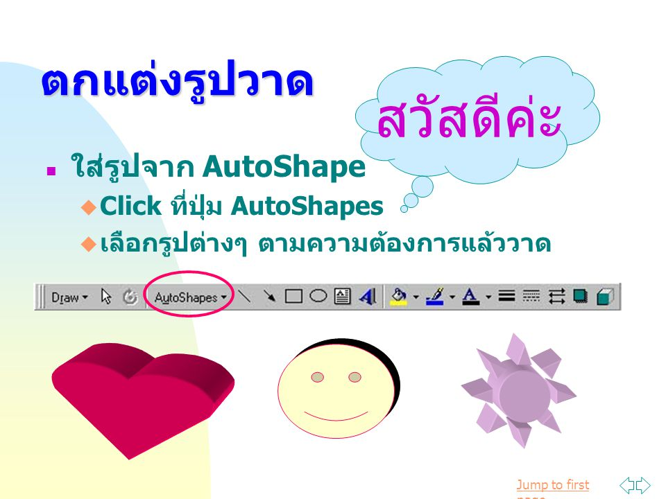 สวัสดีค่ะ ตกแต่งรูปวาด ใส่รูปจาก AutoShape Click ที่ปุ่ม AutoShapes