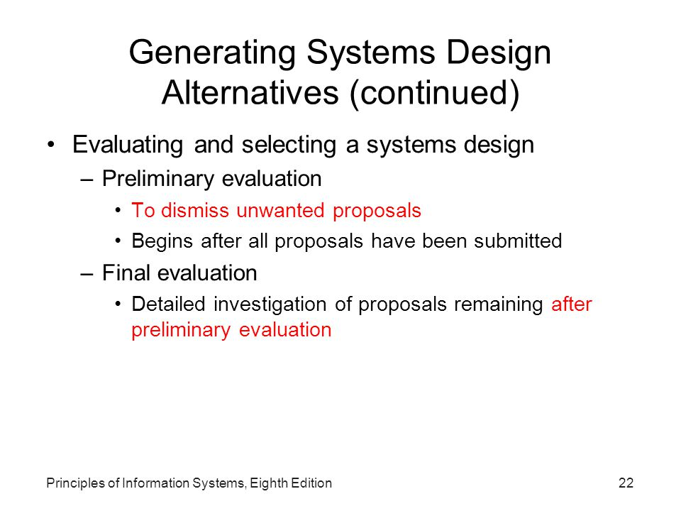 Generating Systems Design Alternatives (continued)‏