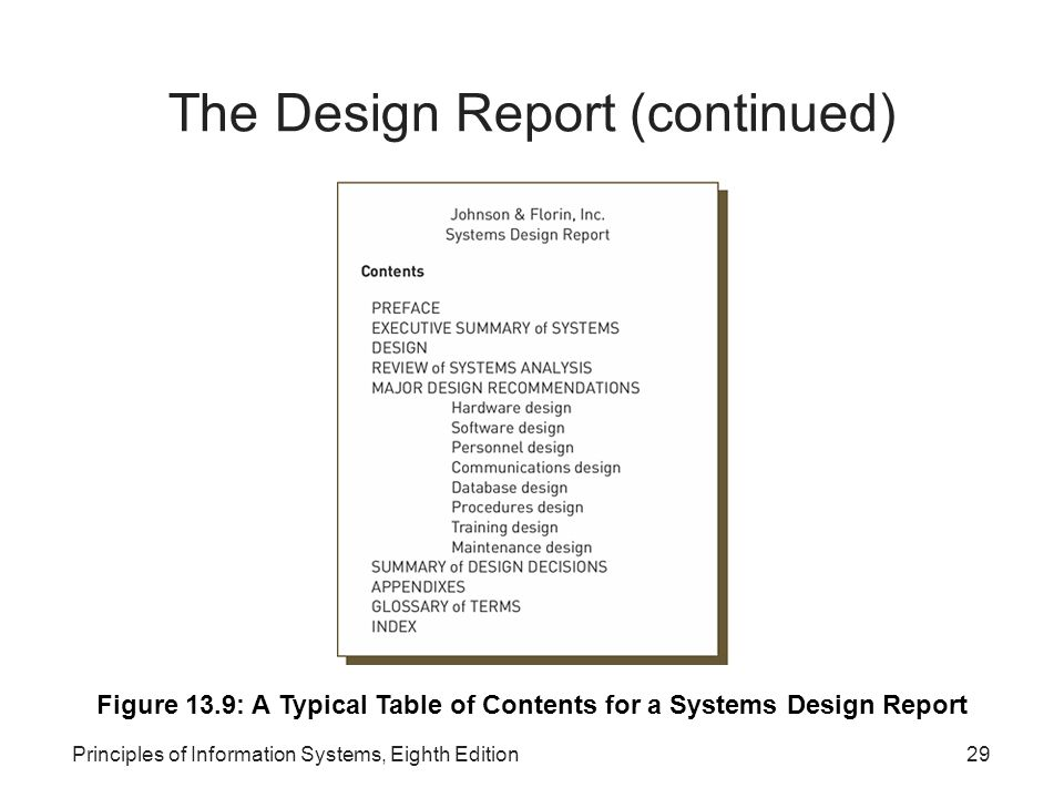 The Design Report (continued)‏