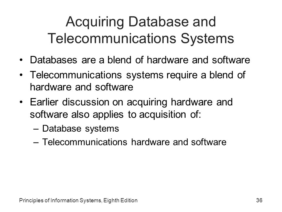 Acquiring Database and Telecommunications Systems