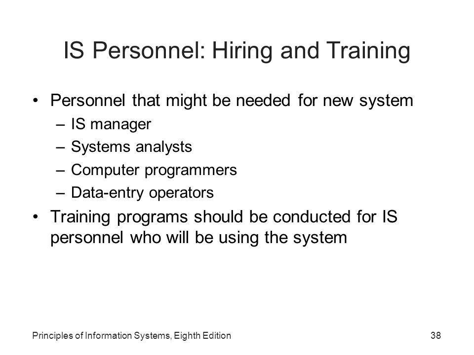 IS Personnel: Hiring and Training