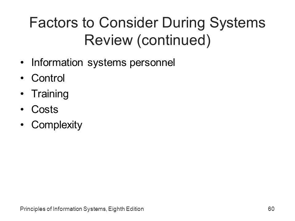 Factors to Consider During Systems Review (continued)‏