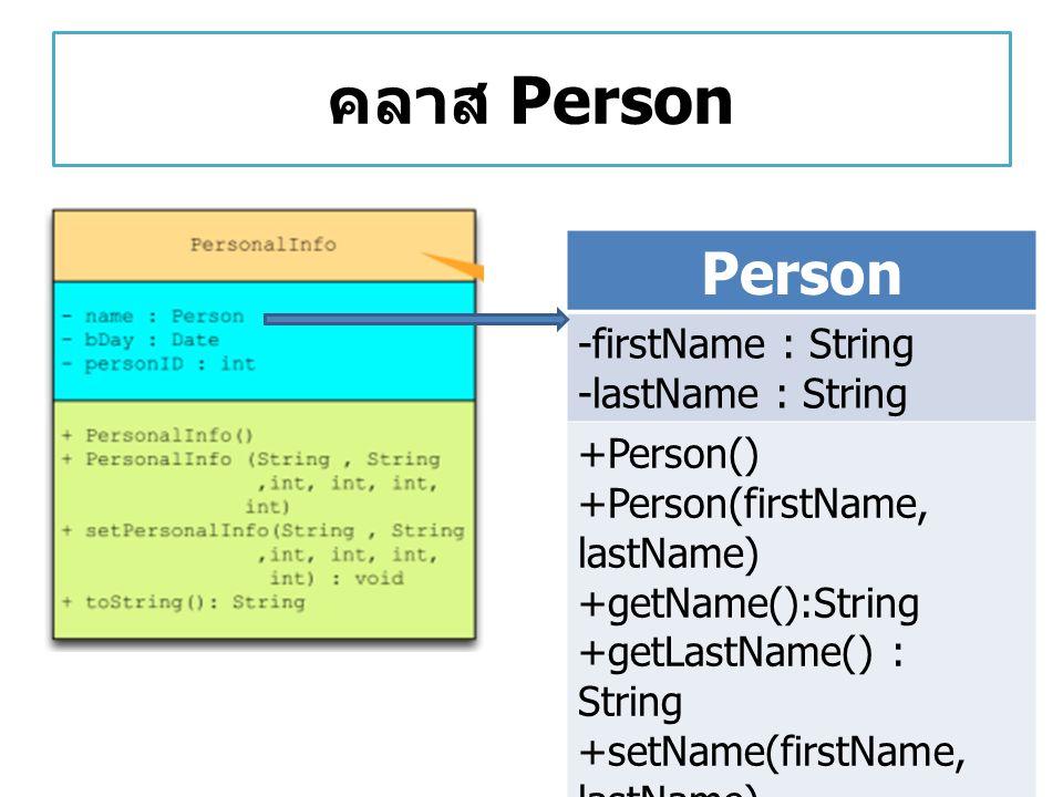 คลาส Person Person -firstName : String -lastName : String +Person()