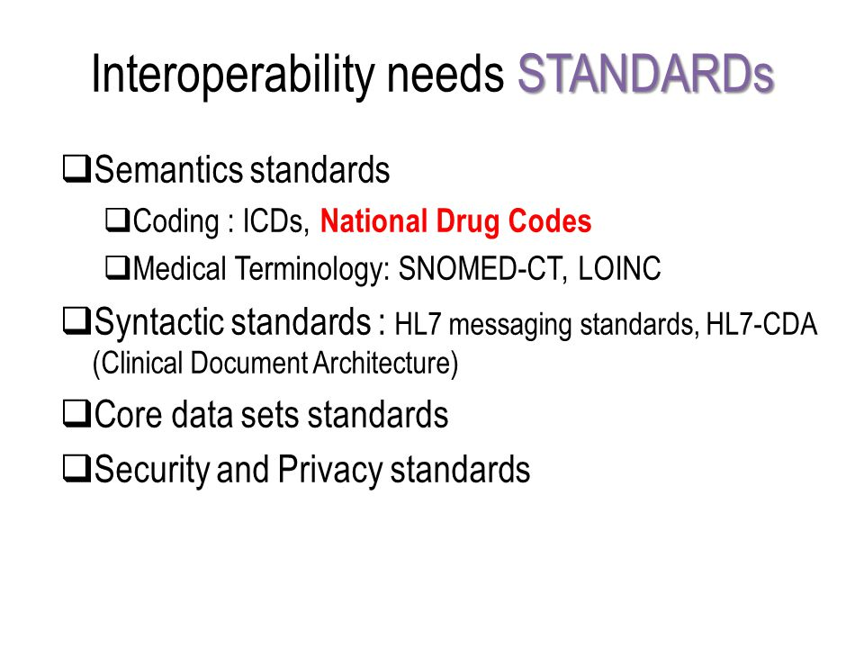 Interoperability needs STANDARDs