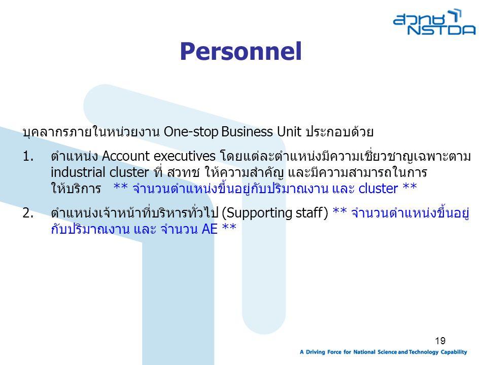 Personnel บุคลากรภายในหน่วยงาน One-stop Business Unit ประกอบด้วย