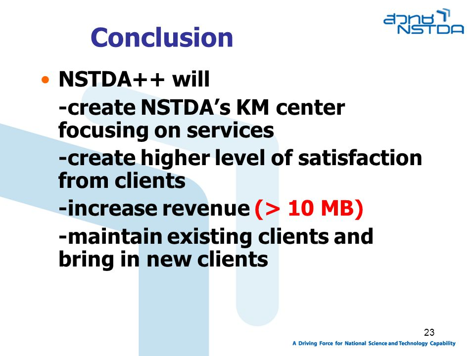 Conclusion NSTDA++ will -create NSTDA's KM center focusing on services