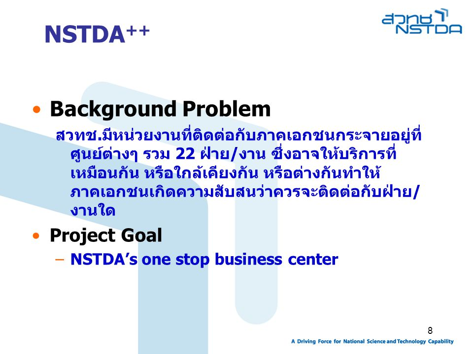 NSTDA++ Background Problem Project Goal
