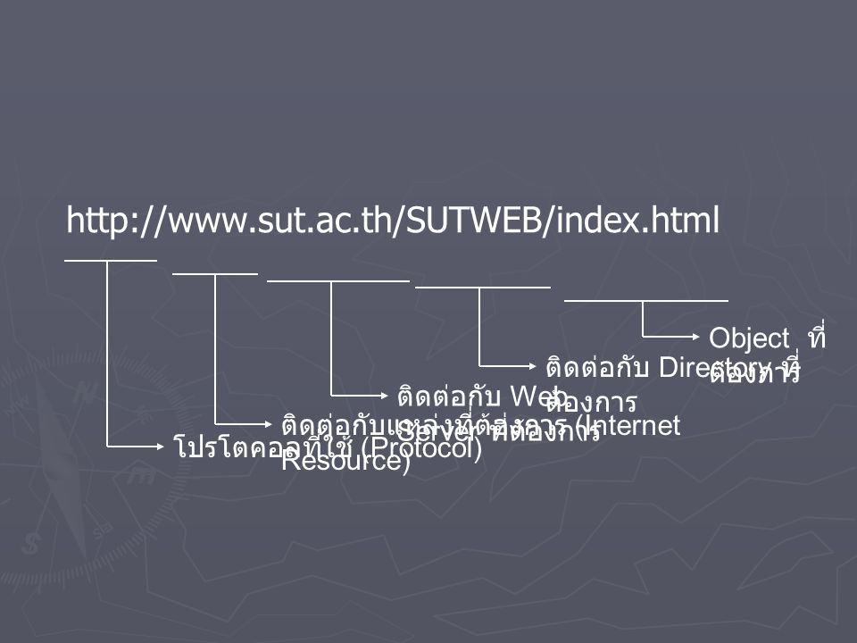 http://www.sut.ac.th/SUTWEB/index.html Object ที่ต้องการ