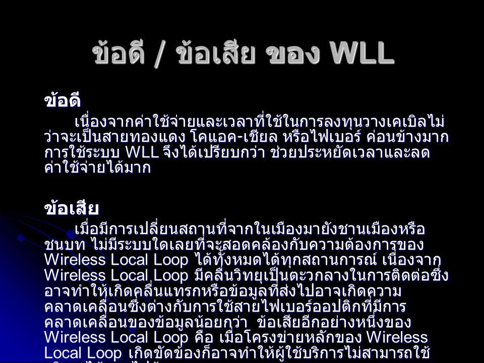 ข้อดี / ข้อเสีย ของ WLL ข้อดี