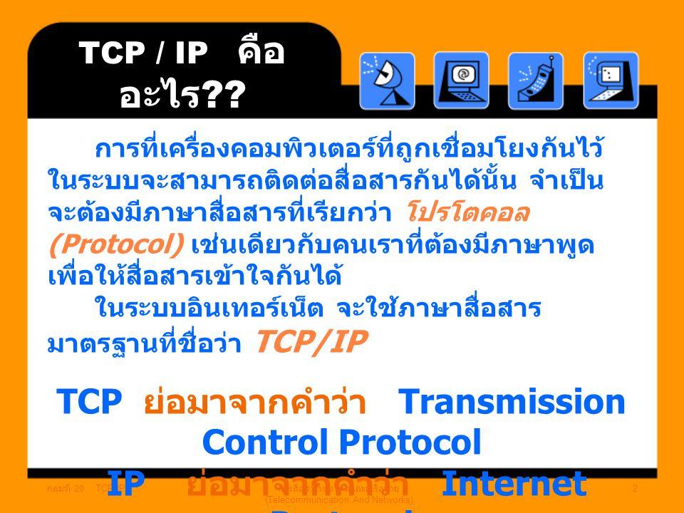 การสื่อสารทางไกลและเครือข่าย (Telecommunication And Networks)