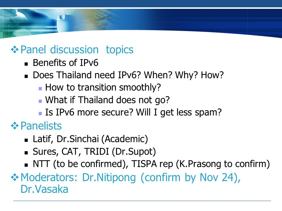 Panel discussion topics