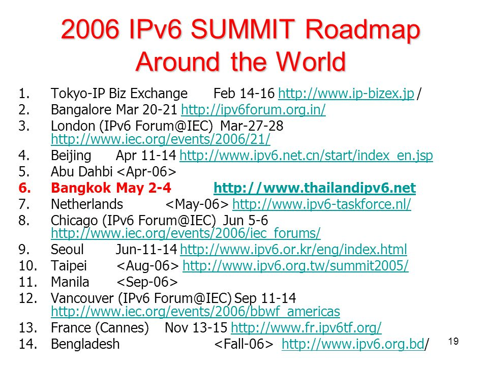 2006 IPv6 SUMMIT Roadmap Around the World