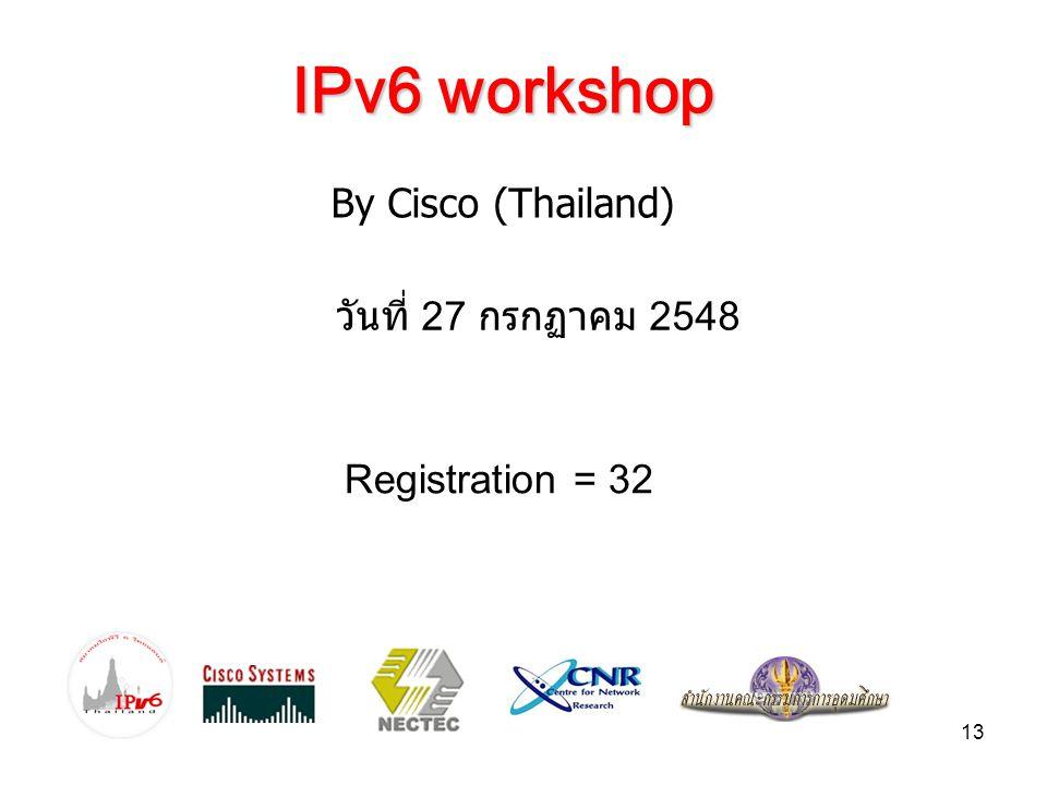 IPv6 workshop By Cisco (Thailand) วันที่ 27 กรกฏาคม 2548