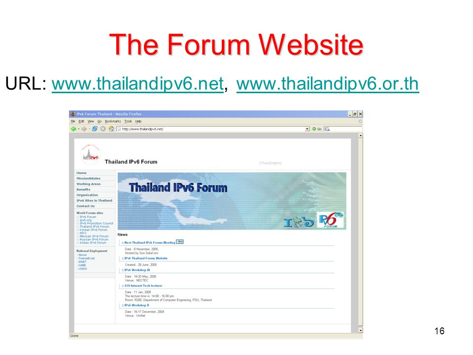 The Forum Website URL: www.thailandipv6.net, www.thailandipv6.or.th