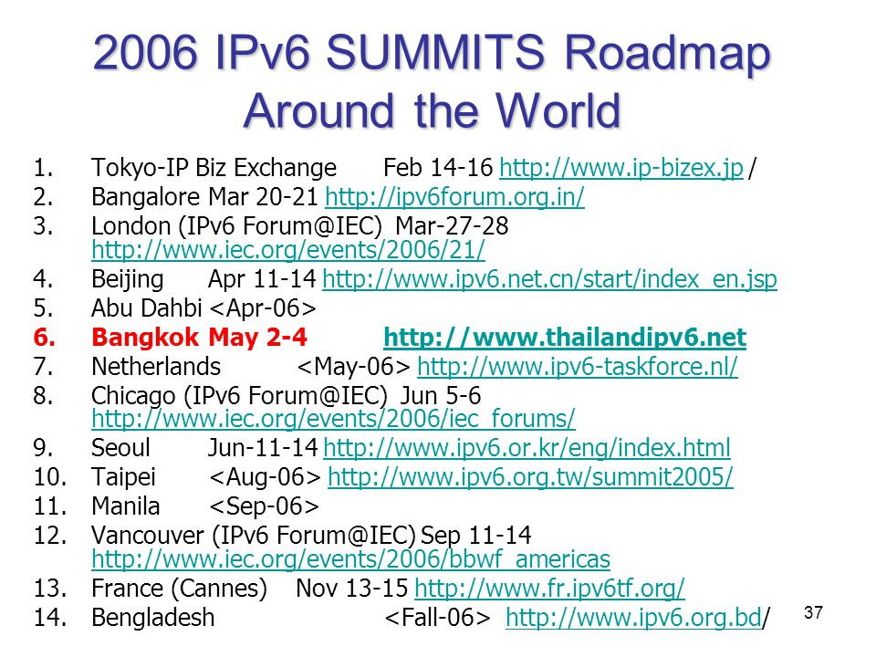 2006 IPv6 SUMMITS Roadmap Around the World