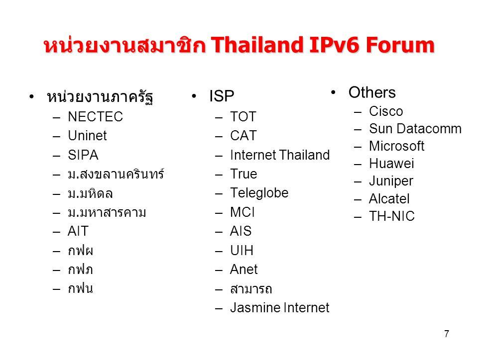 หน่วยงานสมาชิก Thailand IPv6 Forum