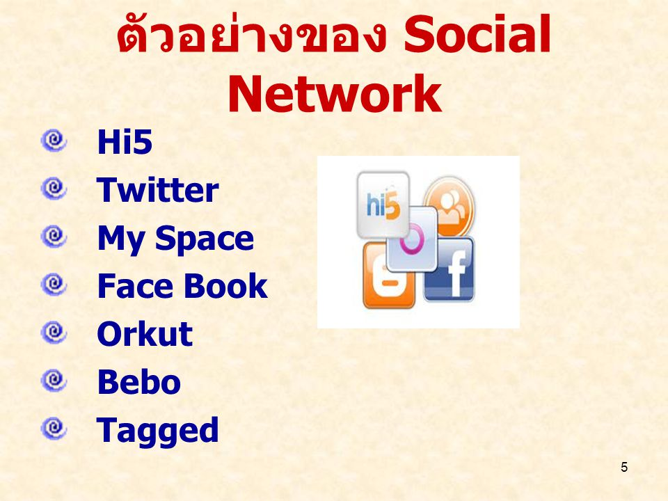 ตัวอย่างของ Social Network