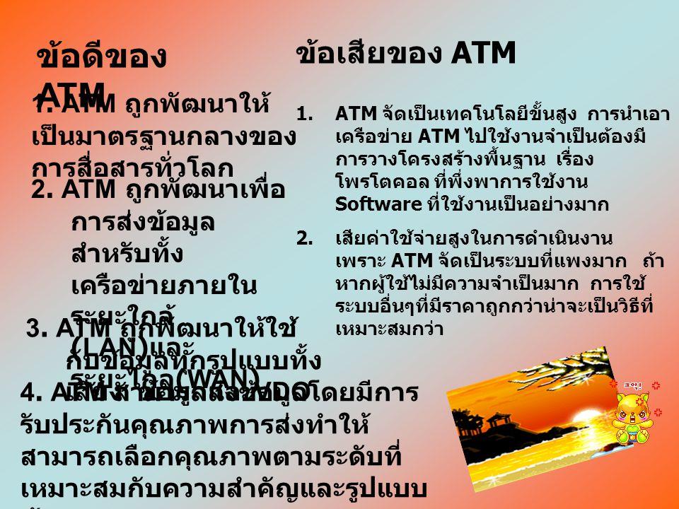 ข้อดีของ ATM ข้อเสียของ ATM
