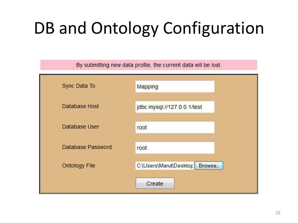 DB and Ontology Configuration
