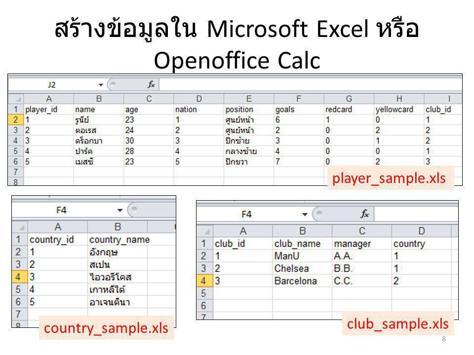 สร้างข้อมูลใน Microsoft Excel หรือ Openoffice Calc